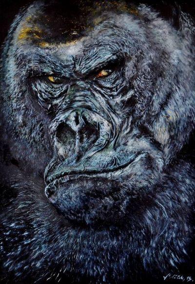 """Aukce díla """"Gorila"""" od autora Petr Polášek, počáteční cena 40 000,- Kč.  www.artsell.cz"""