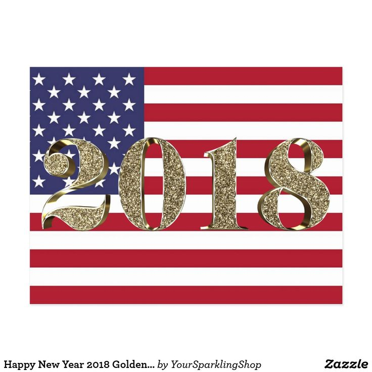Happy New Year 2018 Golden Patriotic American Flag