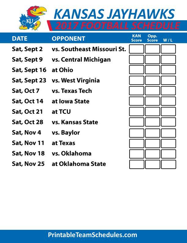 2017 Kansas Jayhawks Football Schedule