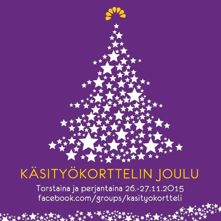 Käsityökorttelin Joulu 26.-27.11.2015! Luvassa tarjouksia ja ilmaista kivaa. Upea kattaus Suomalaista käsityötä joululahjoiksi. Tapahtuma käynnistyy Facebookissa. #käsityökortteli #metkuni #joulu #joulutapahtuma #käsityö #tehtysuomessa