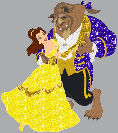 beauty and the beast glitter graphic animation dancing