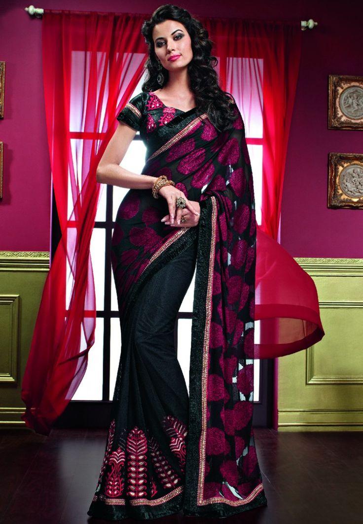 Georgette Black Embellished Saree at $220.40 (24% OFF)