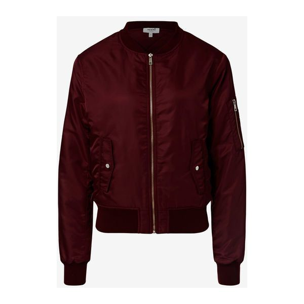 Bomber ($115) ❤ liked on Polyvore featuring outerwear, jackets, red jacket, shiny nylon jacket, nylon flight jacket, blouson jacket and flight bomber jacket
