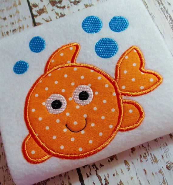 Applique bubble fish machine embroidery design file appliqué