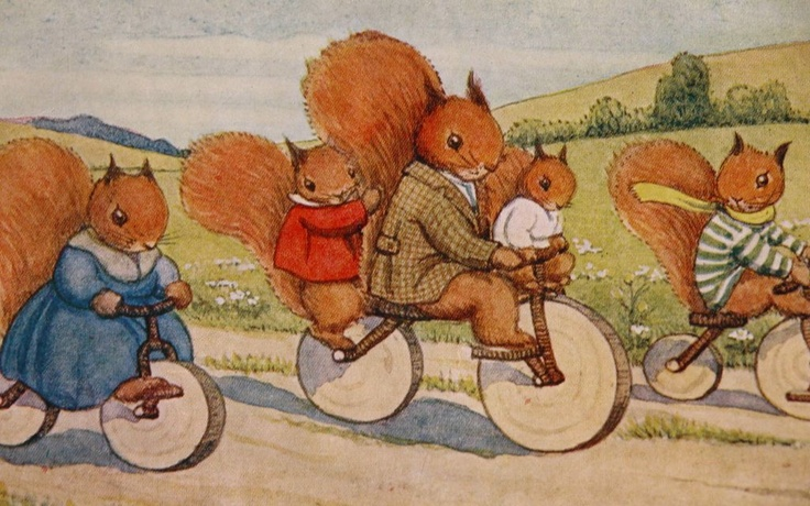 Post Card Artist Signed Margaret Tempest Squirrel's Riding Bikes