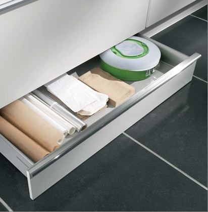 And drawers in kitchen plinths under cupboards - brilliant idea!