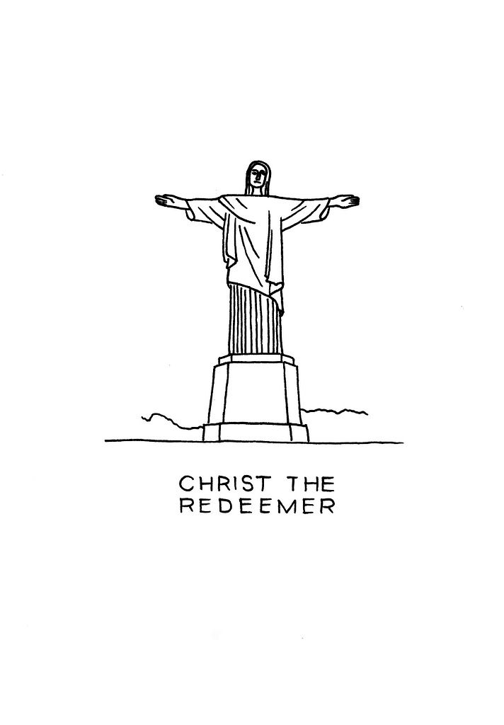 Christ The Redeemer art print. Specially made for Rio 2016 Olympic games. Now on an art print for download. #Rio de Janeiro #art #drawing #sketch #ink #poster #blackandwhite #brazil #landmarks #architecture #statue #DrawTheGlobe