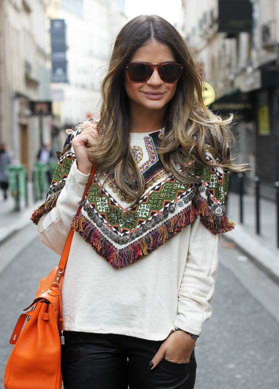 Embroidered Tribal Fringed Coin Sweatshirt