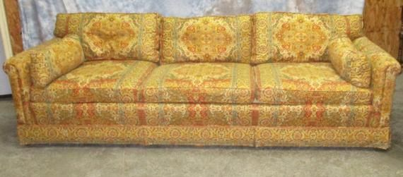 Retro Fabric Davenport Couch Sofa Vintage 60s 70s Danish Modern Furniture A Danish Modern Furniture Retro Fabric Vintage Sofa