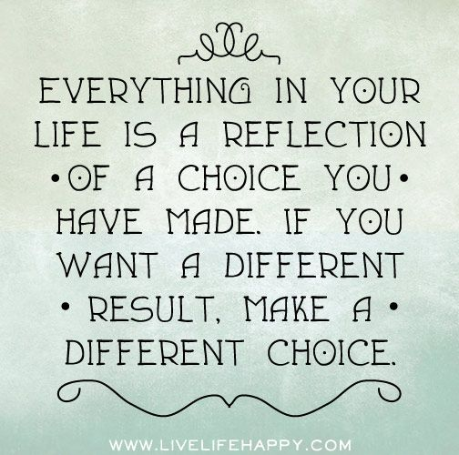 Everything in your life is a reflection of a choice you have made. If you want a different result, make different choices.