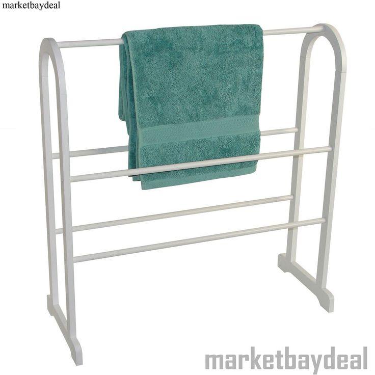 Free Standing Towel Rail Wooden Rack Holder Wood Bathroom Floor Salon  Hanger New