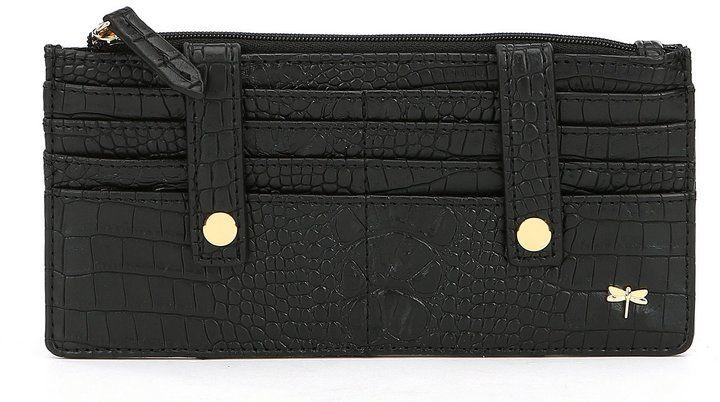 Kate Landry Crocodile-Embossed RFID Wallet