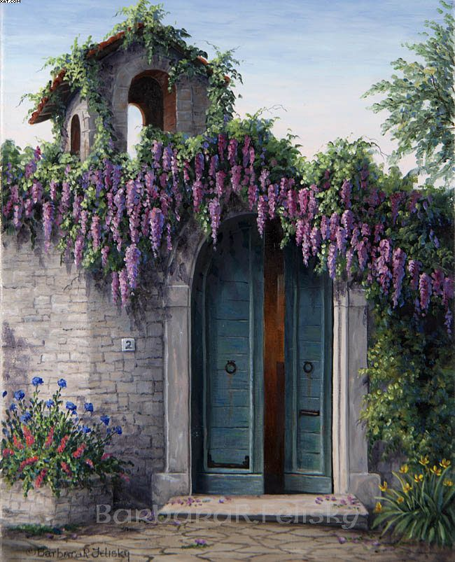Love the blue doors with the purple wisteria!