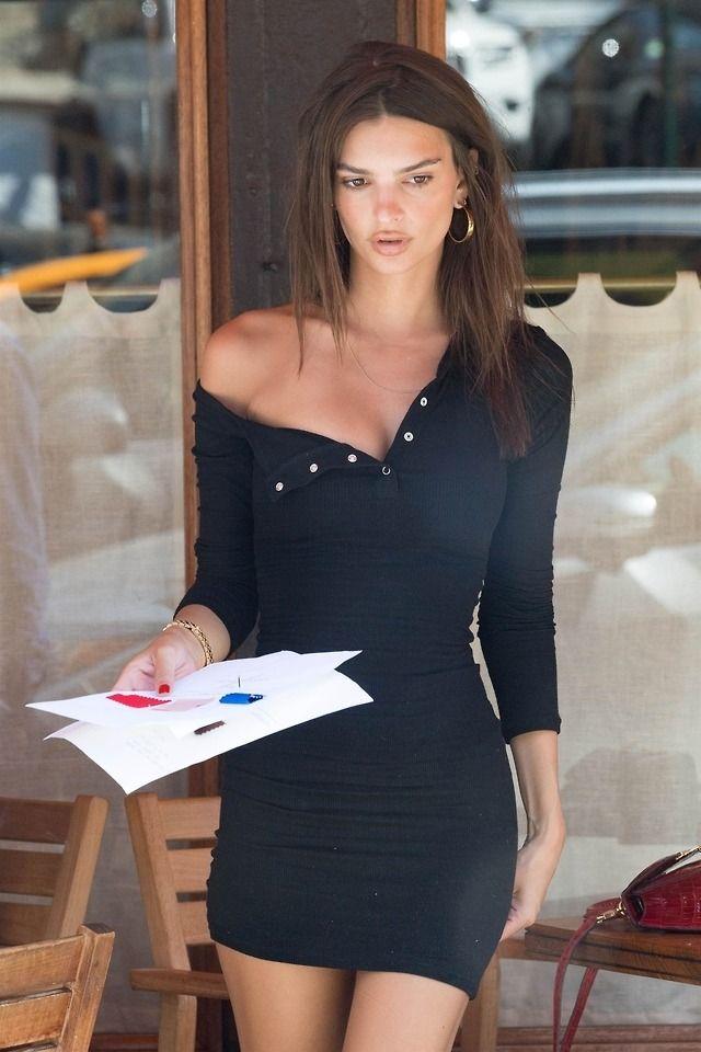 Emily Ratajkowski In Little Black Dress Off The Shoulder Style Emily Ratajkowski Style Mini Black Dress Fashion