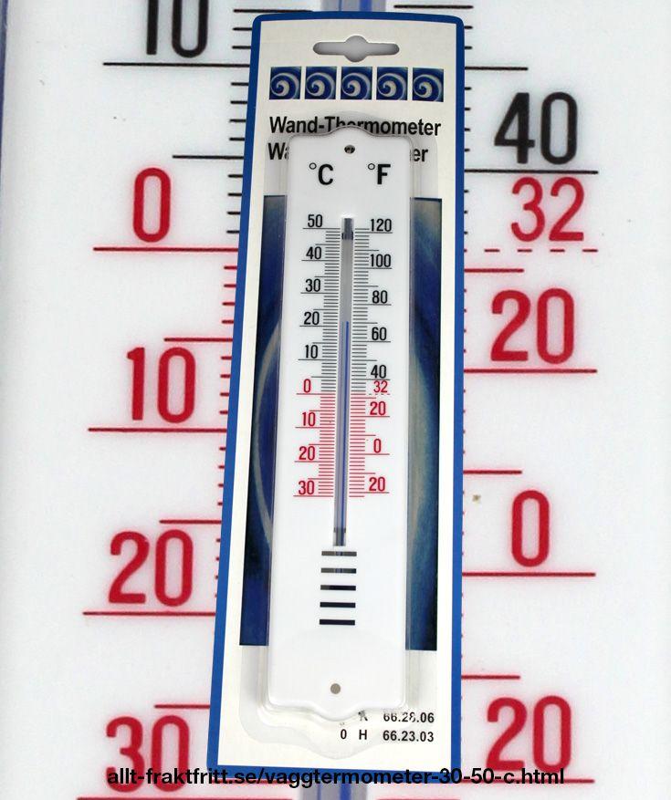 Väggtermometer -30 - +50 C. Med både Celsius och Fahrenheit skala. Mäter luftens temperatur i rummet. Vit plast med svart och rött tryck.