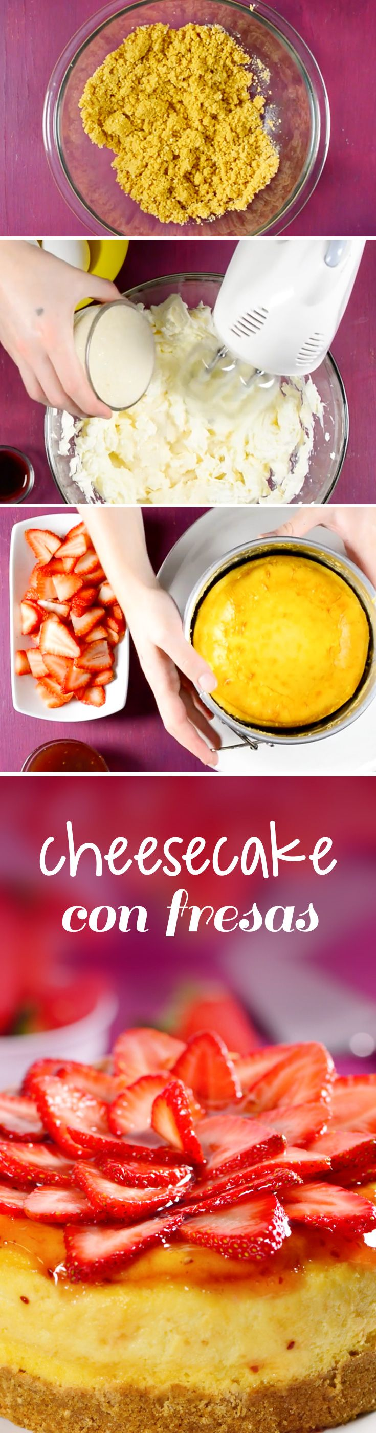Pay de queso horneado con galletas y decorado con fresas. Ese cheesecake al horno es un pastel fácil de hacer y regalar a quien más quieras en #sanvalentin