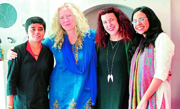 Payal Dhar, Kirsty Murray, Isobelle Carmody & Samhita Arni at the Bangalore launch of Eat the Sky, Drink the Ocean held at Oxford Bookstore.