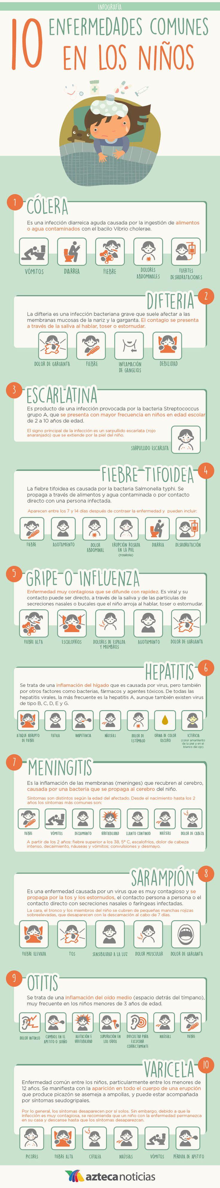 10 enfermedades comunes en los niños #infografia