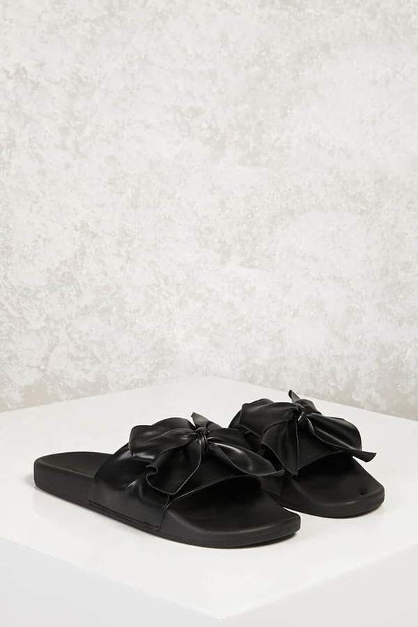 7c473b83af6dae FOREVER 21 Faux Leather Bow Slide Sandals