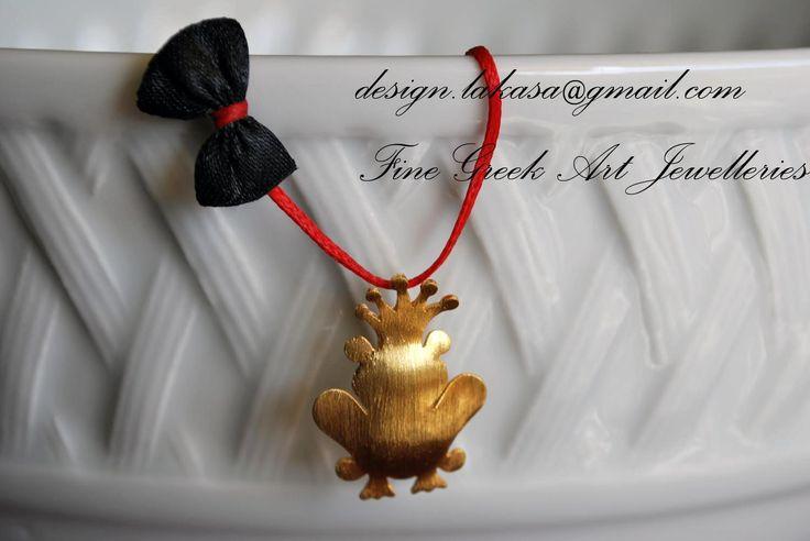Κολιέ ασημένιο 925 επιχρυσωμένο βάτραχος πρίγκιπας