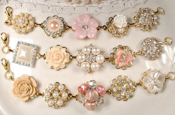 Gold Blush Pink Champagne Bridesmaid Bracelet Set 3 4 5 6 7 8, Bridesmaids Gifts OOAK Ivory Pearl Rhinestone, Vintage Earring Rustic Wedding by AmoreTreasure