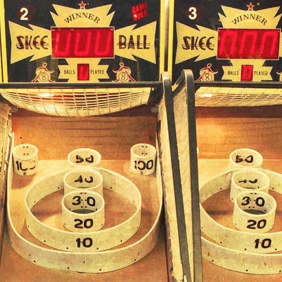 Skee ball game game arcade vintage carnival photo fun fair amusement park retro decor hipster - Winner 8x8