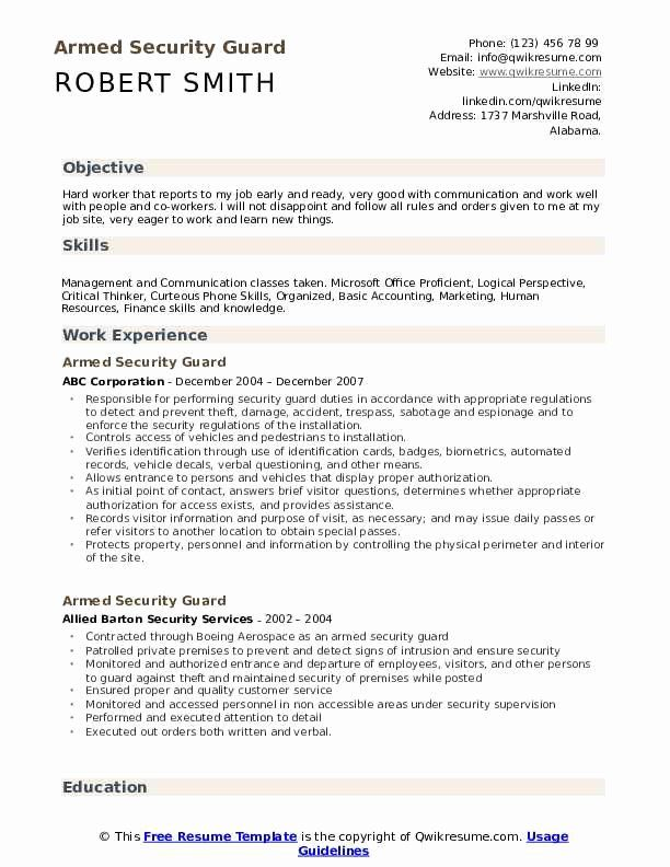 Security Guard Resume Examples Awesome Armed Security Guard Resume Samples Armed Security Guard Job Resume Examples Resume Examples