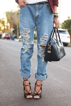 1000  images about Ripped Jeans / Style / different ways to wear