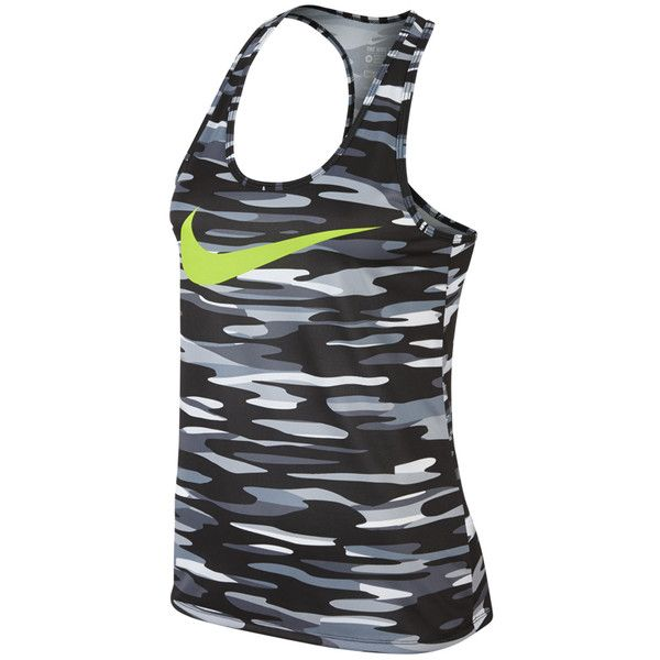 Nike Racerback Allover Print Swoosh ($30) ❤ liked on Polyvore featuring nike