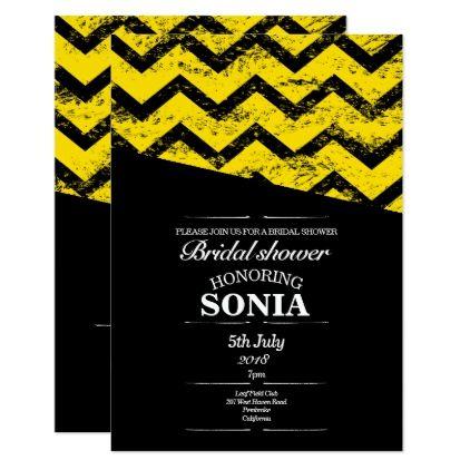 Black and yellow  Chevron Bridal Shower Wedding Card - invitations custom unique diy personalize occasions