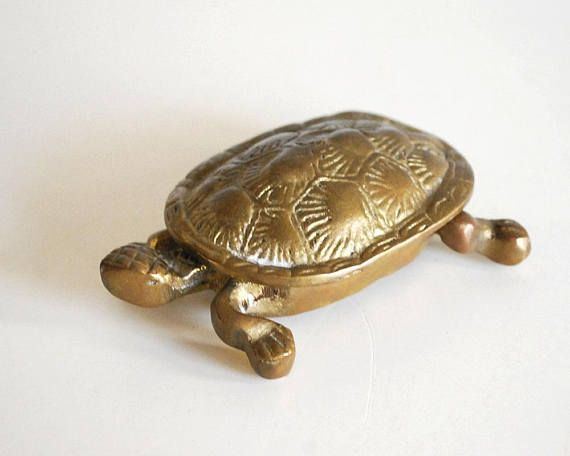 Solid brass turtle hinged box Vintage Brass Turtle Box brass turtle jewellery box Turtle trinket hinged brass box