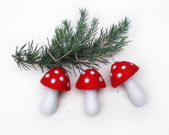 Felt Mushroom Christmas Tree Ornaments, Set of Three Needle Felted Red and White Wool Toadstool Mushrooms Christmas Hanging decorations