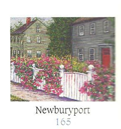 "KP165, Newburyport Ornament, $22.95:  take a stroll through a quaint village on this round bone china ornament, painted from the inside so there's no fading or chipping.   About 3"" dia.  Gold hanging cord, gift boxed."