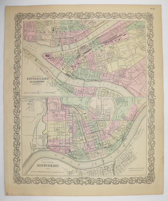 Antique Map Pittsburgh PA, Cincinnati Map 1881 Colton Map, City Street Map, Unique Wedding Gift for Couple, Pittsburgh Gift, Cincinnati Gift available from OldMapsandPrints.Etsy.com #PittsburghPA #CincinnatiOhio #OriginalAntiqueMap
