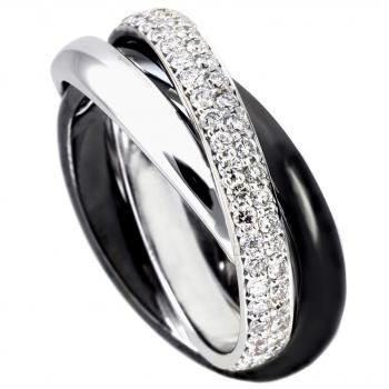 RG0455/3BL pav�ring drie bollige vastgesoldeerde gekruiste banden van waarvan ��n voor de helft bezet met briljant geslepen diamanten en ��n zwart gerhodineerd