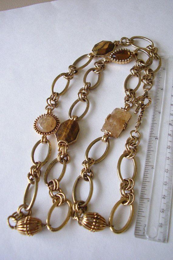Signed Monet Necklace Tiger Eye & Quartz Gemstones 35