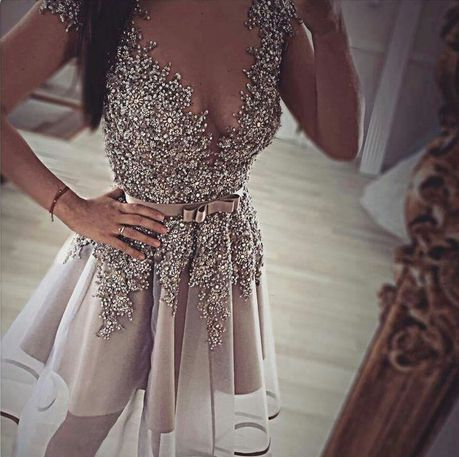Cute V-neck short prom dress,A-line organza beading short prom dresses,homecoming dress