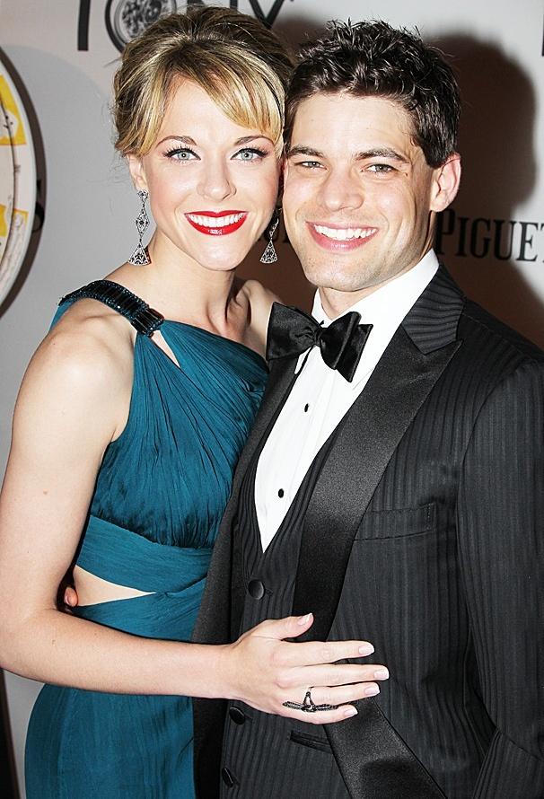 Ashley Spencer and Jeremy Jordan on the Tonys red carpet