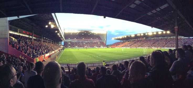 Pittodrie Stadium full (in Aberdeen, Scotland)