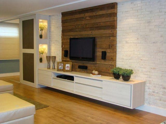 rack branco + painel de madeira