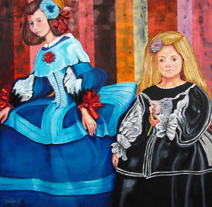 Flores en Velazquez II (2013) Oil on Canvas / Mixed Technique 150x150 cm  www.maiterodriguez.es