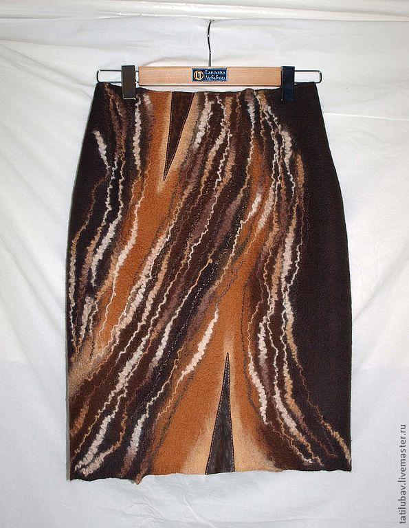 Юбка валяная Карамельные реки-шоколадные берега. - коричневый, абстрактный, шоколадный цвет