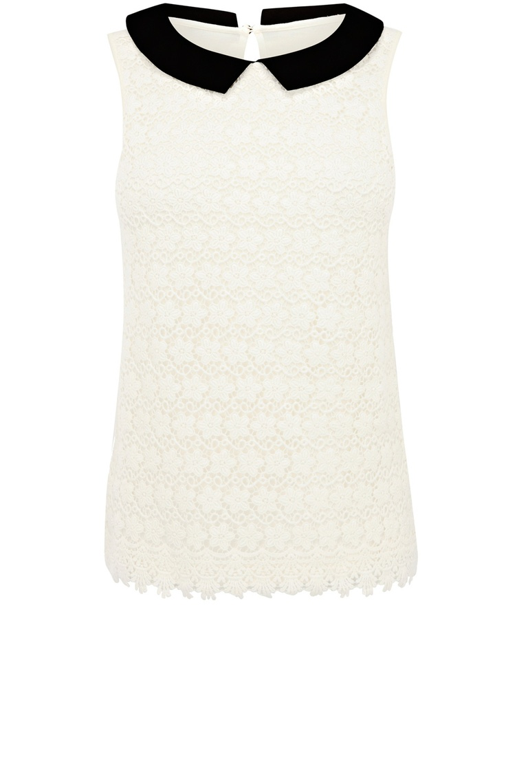 Oasis Lace Collar Sleeveless Top