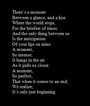 Our first kiss...I remember it much like this
