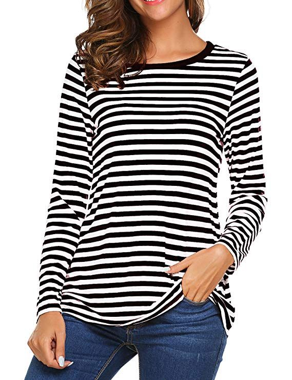 f691bf17f2b OURS Women s Round Neck Long Sleeve Basic T-Shirt Striped Shirts Tunic Top  Blouse (XL
