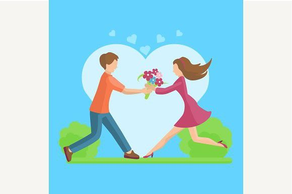 Affection Young couple. Wedding Card Templates