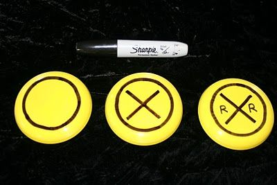 Yellow frisbees+ black sharpee = cute party train party favor!
