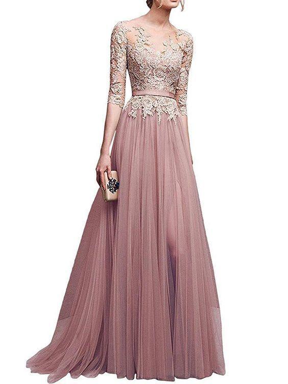 Chic a-line bateau tulle applique modest prom dress evening dress