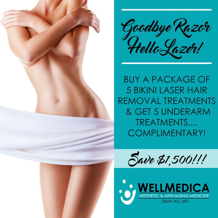 For the rest of the month of November is offering this HUGE sale on Laser Hair Removal! Buy a package of 5 bikini laser hair removal and get a package of 5 underarm hair removal treatments complimentary! Call us at 703.787.9866 for more information!