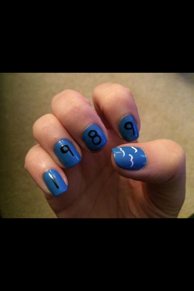Taylor swift 1989 nails! Better if the blue was lighter so it matches her shirt with the birds on it! :-)